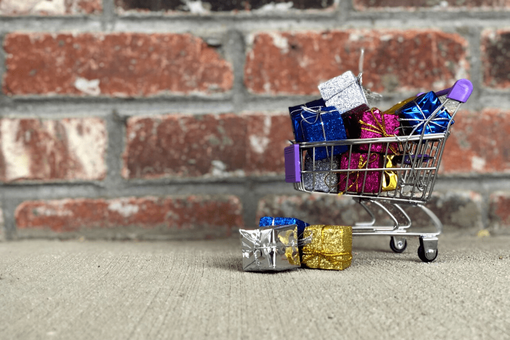 Shopping cart full of unopened presents, just like God's unclaimed promises.