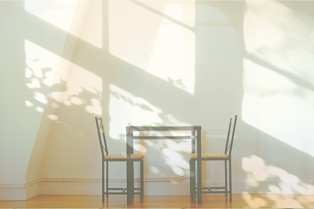 Empty table for two in sunlight. Like a tabel for God and me.