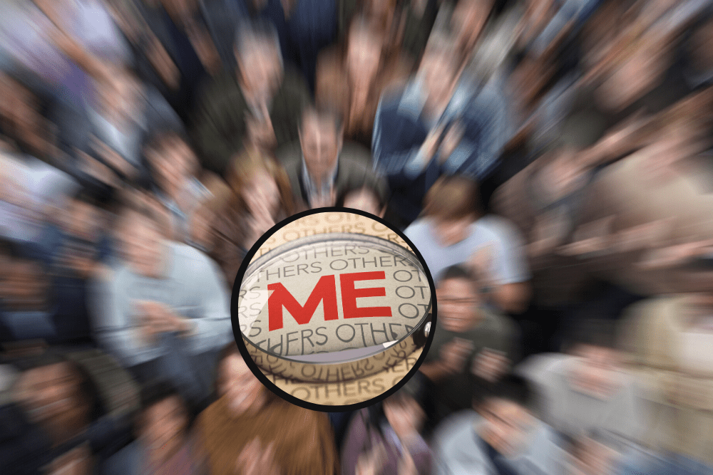 "A group of people with the word ""me"" in the middle."